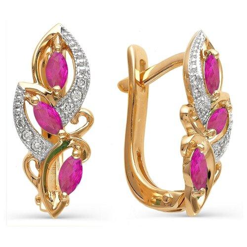 АЛЬКОР Серьги с рубинами, бриллиантами из красного золота 21283-103