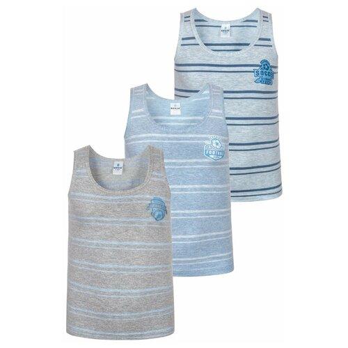 Купить Майка BAYKAR 3 шт., размер 146/152, голубой/серый, Белье и пляжная мода