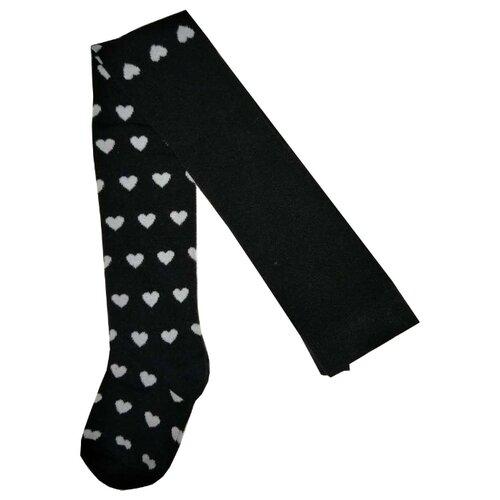 Колготки АЙАС размер 128/134, Белые сердца на черномКолготки<br>