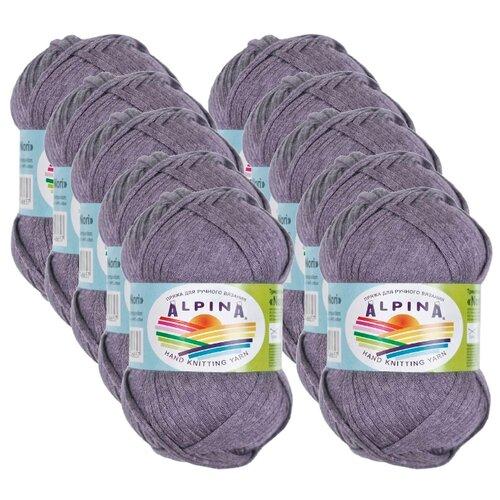 Пряжа Alpina Nori, 44 % хлопок, 56 % акрил, 50 г, 100 м, 10 шт., №10 серый