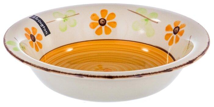Elrington Тарелка глубокая Цветочная фантазия 22 см белый/оранжевый/зеленый