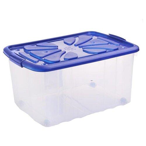 ПОЛИМЕРБЫТ Ящик хозяйственный на колесах 40x60x30 см прозрачный/синий