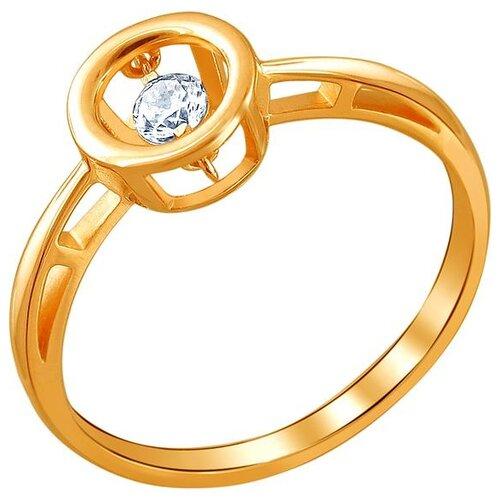Эстет Кольцо с 1 фианитом из красного золота 01К117960, размер 19 ЭСТЕТ
