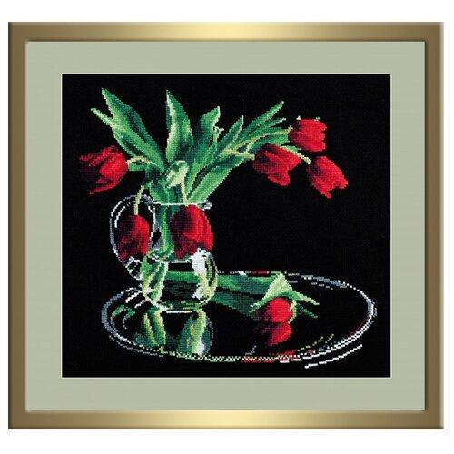 Купить Овен Цветной Вышивка крестом Тюльпаны на черном 35 х 32 см (318), Наборы для вышивания