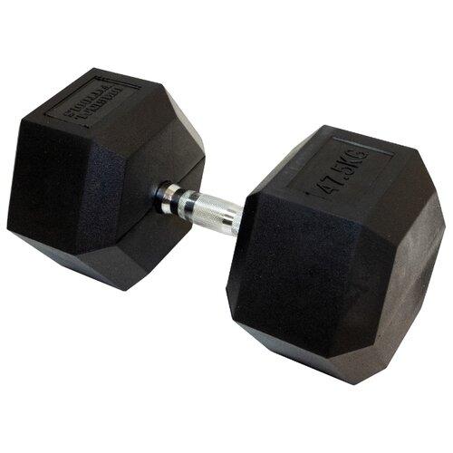 Гантель неразборная Original FitTools FT-HEX-47.5 47.5 кг хром/черный гантель гексагональная original fit tools обрезиненная хромированная ручка 2 кг ft hex 02