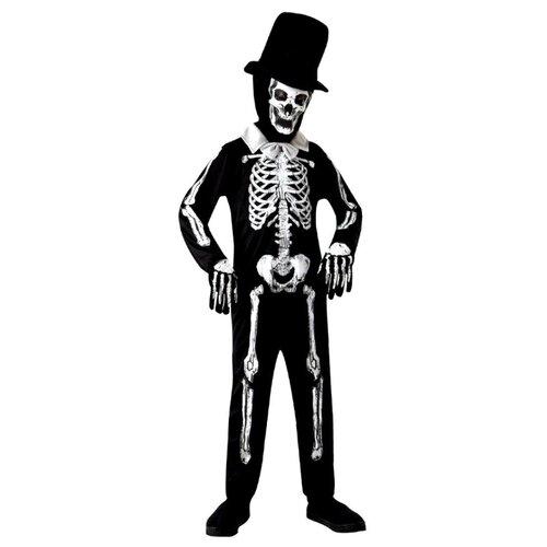 Купить Костюм Bristol Novelty Skeleton Bone Zombie (ПБ1023), черный, размер 134-146, Карнавальные костюмы