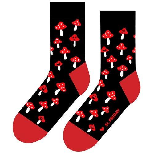 Фото - Носки St. Friday Грибной дождь, размер 34-37, черный/красный/белый носки st friday цой жив гуф умер размер 34 37 черный