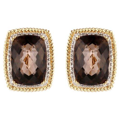 JV Серьги из золота 585 пробы с бриллиантами и раухтопазами K015STC4YT-SQ-YG