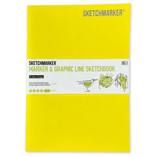 Фото - Скетчбук SketchMarker Marker&Graphic Line 25 х 17.6 см, 180 г/м², 16 л. лимонный блокнот graphic frankfurt l 256 стр 16 5 х 22 см 120 г м2