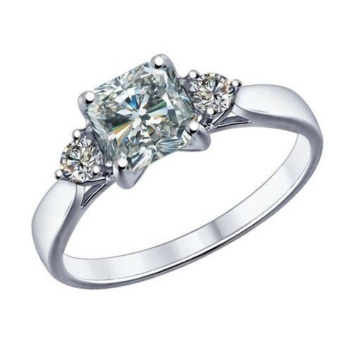 SOKOLOV Помолвочное кольцо из серебра с фианитами 89010033, размер 18