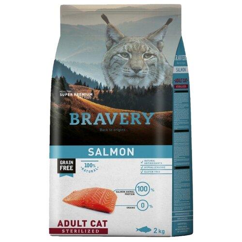 Корм для стерилизованных кошек Bravery беззерновой, с лососем 2 кг