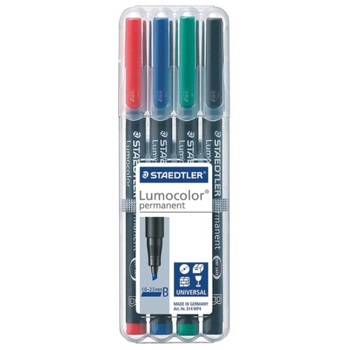 Купить Staedtler Набор перманентных маркеров Lumocolor, 4 шт (314 WP4), Маркеры