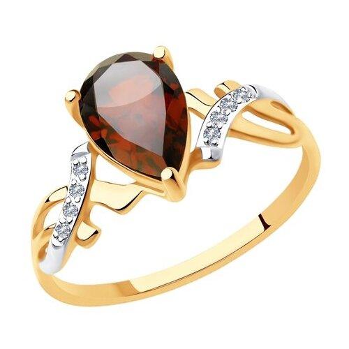 Diamant Кольцо из золота с гранатом и фианитами 51-310-00735-3, размер 18 diamant кольцо из золота с хризолитом и фианитами 51 310 00256 3 размер 18