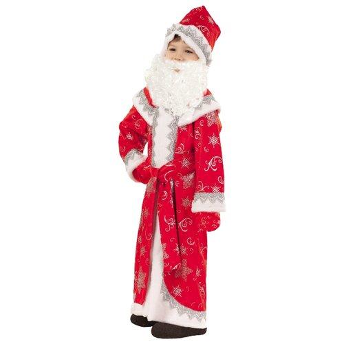 Костюм пуговка Дед Мороз Иванка (3003 к-18), красный/белый, размер 128, Карнавальные костюмы  - купить со скидкой