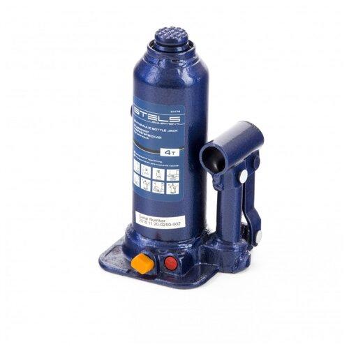 Домкрат бутылочный гидравлический Stels 51174 (4 т) синий