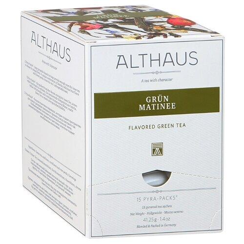Чай зеленый Althaus Grun Matinee в пирамидках , 41.25 г , 15 шт. newby hunan green зеленый чай в пирамидках 15 шт