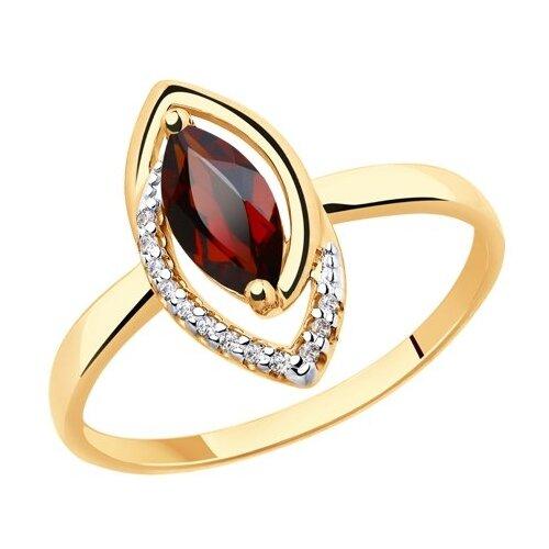 Diamant Кольцо из золота с гранатом и фианитами 51-310-00241-2, размер 17 diamant кольцо из золота с гранатом 51 310 00182 2 размер 17