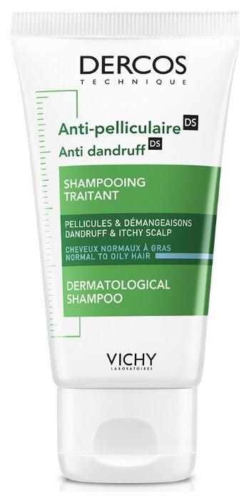 Купить Vichy интенсивный шампунь-уход Dercos Anti-Dandruff против перхоти для нормальных и жирных волос 50 мл по низкой цене с доставкой из Яндекс.Маркета