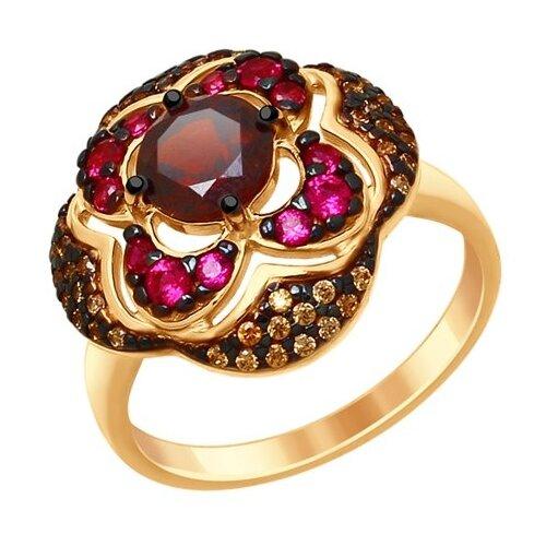 SOKOLOV Кольцо из золочёного серебра с гранатом и жёлтыми и красными фианитами 92011431, размер 17
