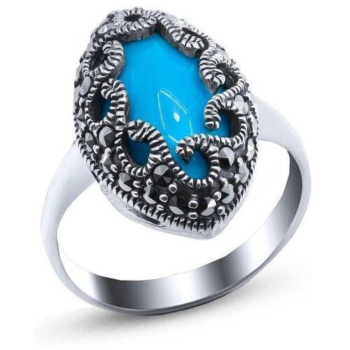 Silver WINGS Кольцо с марказитами и бирюзой из серебра 21as0007-39, размер 18 silver wings кольцо с марказитами и бирюзой из серебра 210011 39 203 размер 17