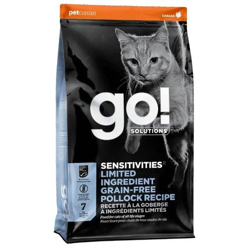 Сухой корм для кошек и котят GO! Sensitivities Limited Ingredient, беззерновой, при чувствительном пищеварении, с минтаем 3.63 кг