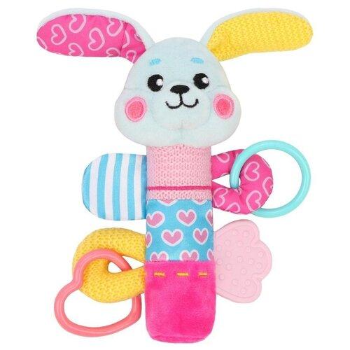 Купить Прорезыватель-погремушка Жирафики Зайка 939705 белый/розовый/голубой, Погремушки и прорезыватели