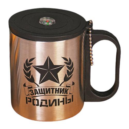 Термокружка Komandor Защитник родины, 0.2 л серебристый