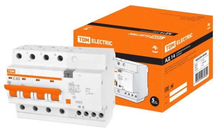 Дифференциальный автомат TDM ЕLECTRIC АД14 4П 300 мА C