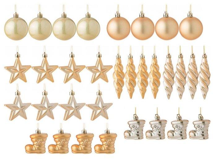 """Набор декоративных шаров Lefard """"Золотые блестки"""", 858-026, золотистый, 32 шт"""