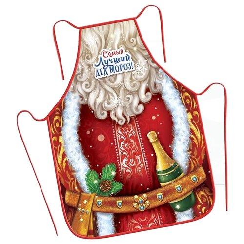 Фартук Зимнее волшебство Самый лучший Дед Мороз 50х70см (2070324) красный