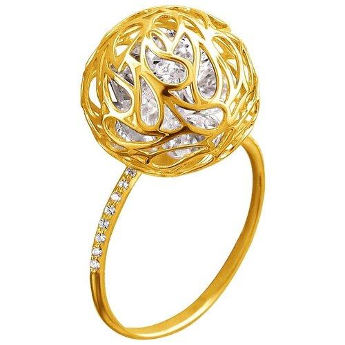 Эстет Кольцо с 23 фианитами из жёлтого золота 01К1312779Ф, размер 19
