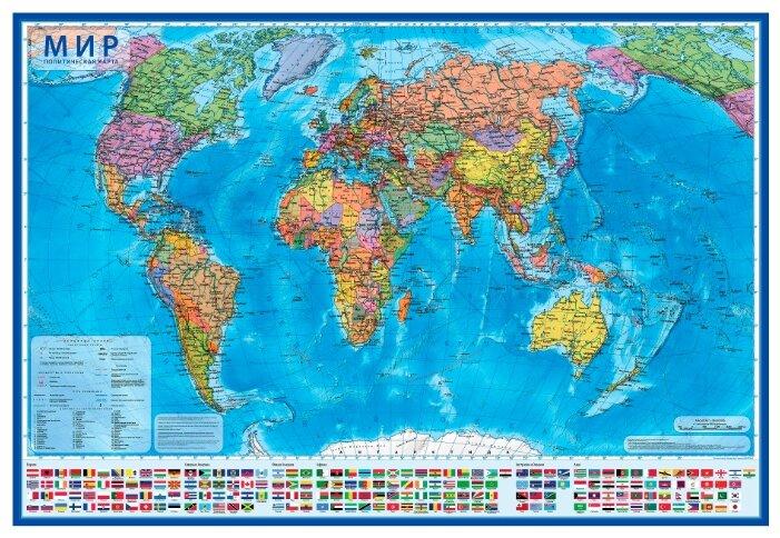 Globen Интерактивная карта Мир Политический 1:32 в тубусе (КН041)