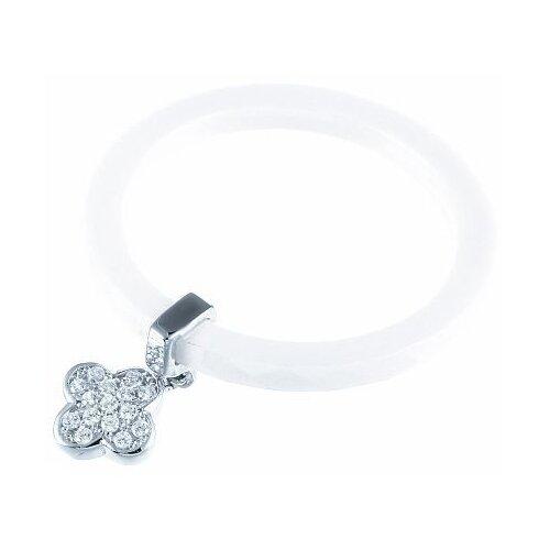 JV Кольцо с керамикой и фианитами из серебра ML11916A-KO-001-WG, размер 18.5 фото