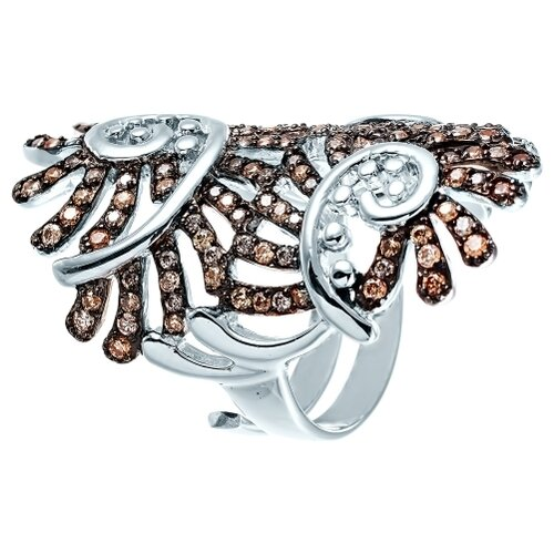 JV Кольцо с фианитами из серебра PR140050G-KO-001-WG, размер 16 jv кольцо с фианитами из серебра r27103 w3 ko 001 wg размер 16 5