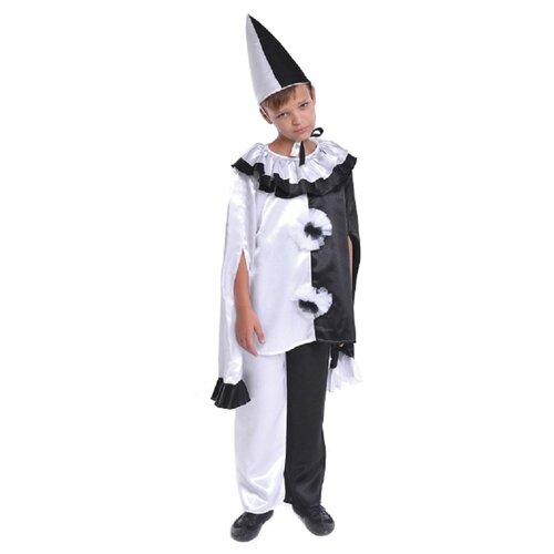 Купить Костюм ПТИЦА ФЕНИКС Пьеро (P0157), черный/белый, размер 122-128, Карнавальные костюмы