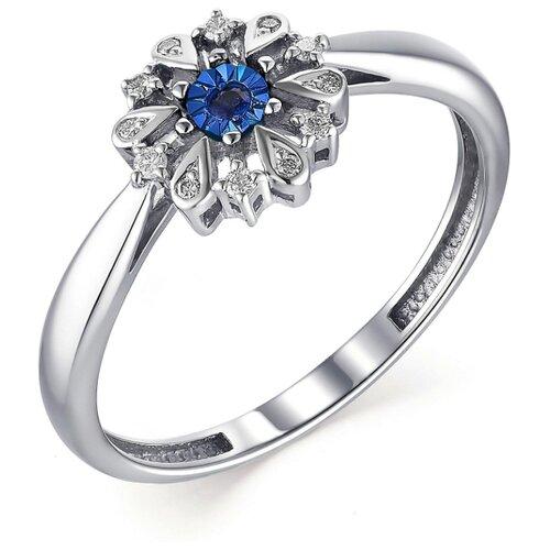 АЛЬКОР Кольцо с бриллиантами и сапфиром из белого золота 13396-202, размер 17.5 алькор кольцо с сапфиром и бриллиантами из белого золота 13288 202 размер 18 5