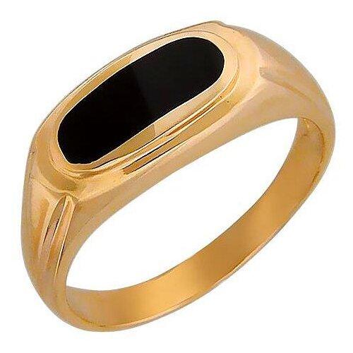 Эстет Кольцо с 1 ониксом из красного золота 01Т411491-1, размер 20.5 ЭСТЕТ