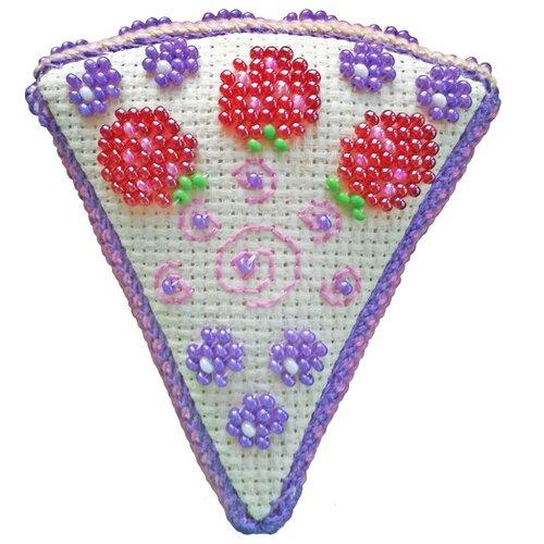 ZENGANA Набор для вышивания бисером и нитками Ягодный тортик 7 х 8 х 2 см (М-109)