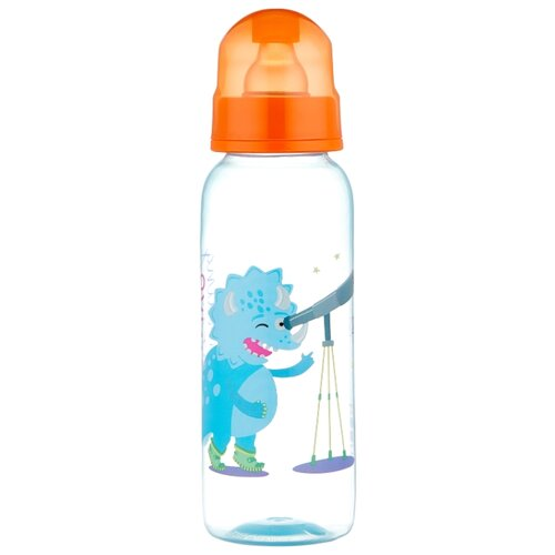 lubby бутылочка с соской малышарики 125 мл с рождения желтый Lubby Бутылочка полипропиленовая с соской, 250 мл с рождения, динозаврик