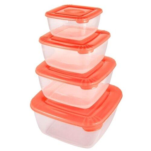 Plast Team Набор контейнеров квадратных Polar коралловый контейнер пищевой plast team polar цвет лайм 6 л