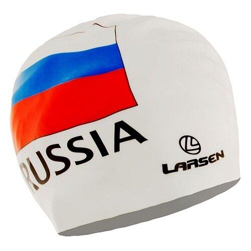 Фото - Шапочка для плавания Larsen Russia белый белая очки для плавания larsen dr g101 черный