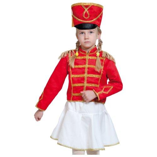 Купить Костюм КарнавалOFF Мажоретка, замш (5143), белый/красный, размер 134-140, Карнавальные костюмы