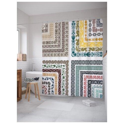 Штора для ванной JoyArty Классический цветочный орнамент 180х200 (sc-15873) разноцветный