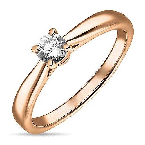 ЛУКАС Кольцо с 1 бриллиантом из красного золота R01-D-SOL32-020-G3, размер 18.5