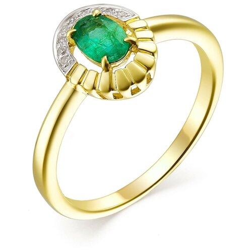АЛЬКОР Кольцо с изумрудом и бриллиантами из жёлтого золота 13480-301, размер 17.5 фото