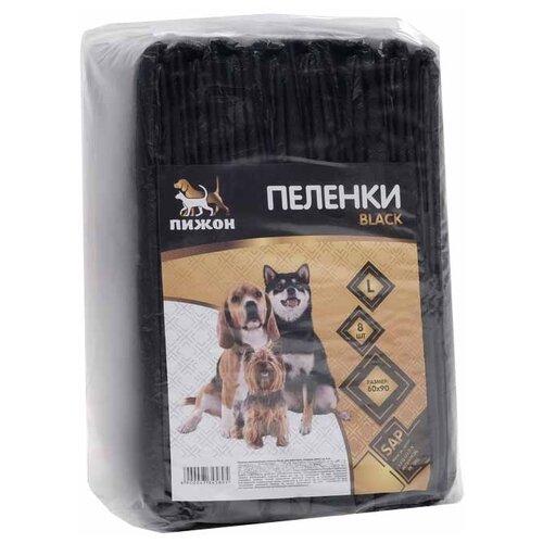 Пеленки для собак впитывающие Пижон гелевые Black 4734589 90х60 см черный 8 шт.