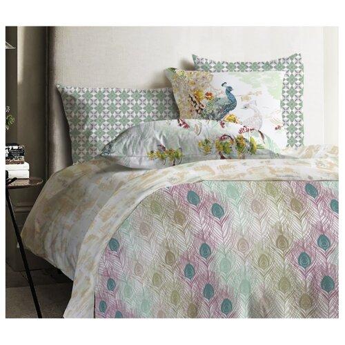 цена Постельное белье 2-спальное Mona Liza Japanese Feathers 70х70 см, ранфорс зеленый/бежевый онлайн в 2017 году