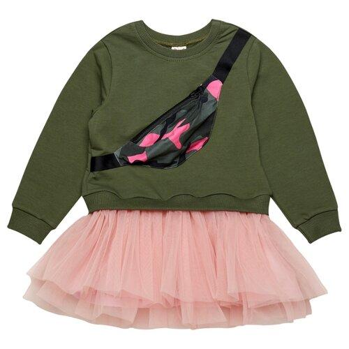 Платье ЁМАЁ размер 128, хаки/розовый