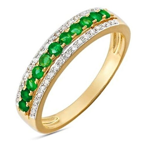 ЛУКАС Кольцо с изумрудами и бриллиантами из красного золота R01-D-33607-EM, размер 16.5 кольцо из золота r01 d r306443sap