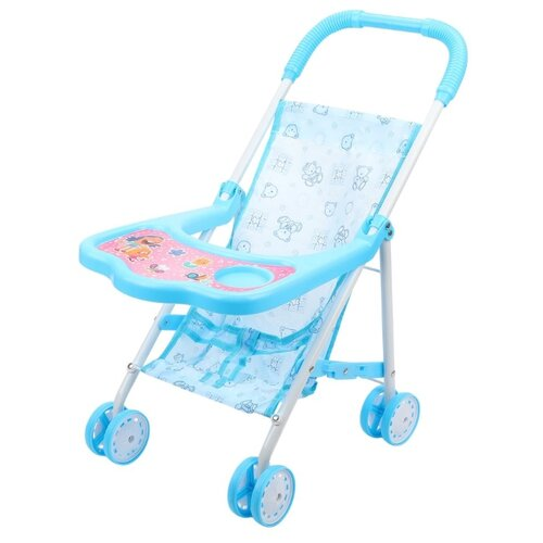 Прогулочная коляска Наша игрушка со столиком (818+) голубой